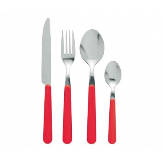 Damien Red Cutlery Set 24 pcs