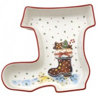 Winter Bakery Delight Bowl: Boot Shape 7.5 in