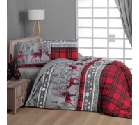 First Choice Double Flannel Flannel Duvet Cover Set Happiness Red
