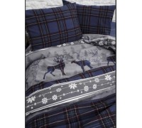First Choice Double Flannel Flannel Duvet Cover Set Happiness Blue