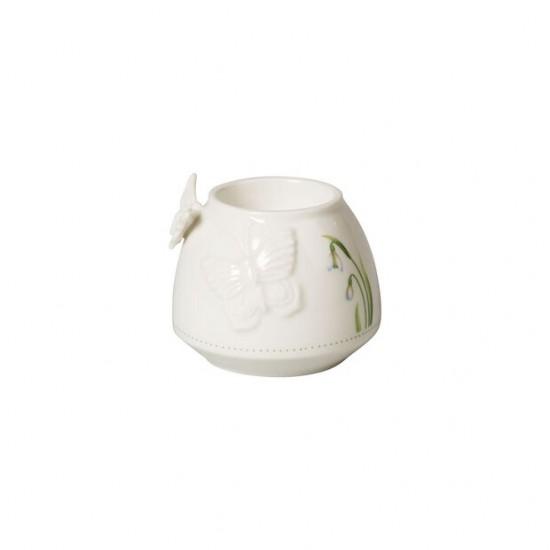 Colourful Spring tea light holder, white/green