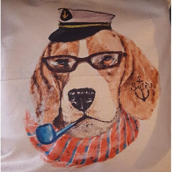 Decorative pillowcase  dog captain 45х45