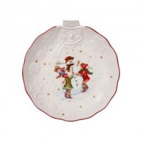 Toy's Fantasy relief bowl snowman, white/multicoloured, 26 x 24.5 x 4.4 cm