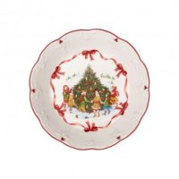 Toy's Fantasy large bowl dancing around the tree, red/multicoloured, 25 x 25 x 5 cm