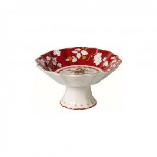 Toy s Fantasy small footed bowl, red/multicoloured, 14.5 x 14.5 x 7.5 cm