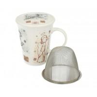 Angel Tea Cup/Mug with Lid and Strainer