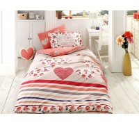 Bella Red- Poplin Single Bed Linen Set