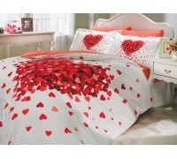 Juana Red- Poplin Double Bed Linen Set