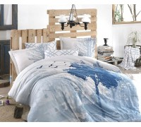Satin Double Size Quilt Cover Set  Alandra Blue