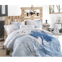 Satin Double Size Quilt Cover Set  Alandra Blue