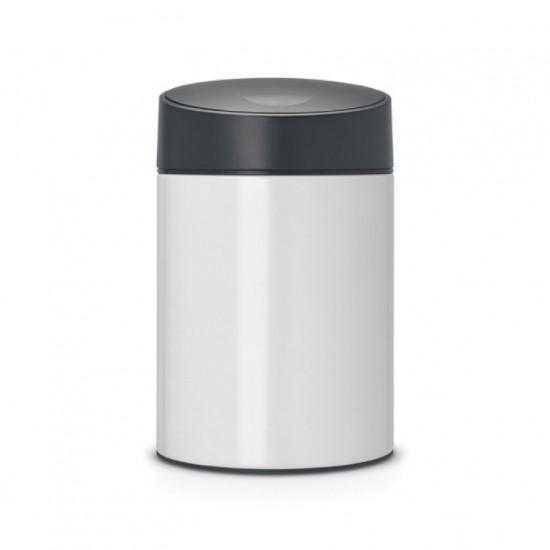 Slide bin, 5 litre, plastic inner bucket Brabantia, Pure White