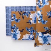Riviera Bucaneve Blue Cognac Double Quilt Cover Set