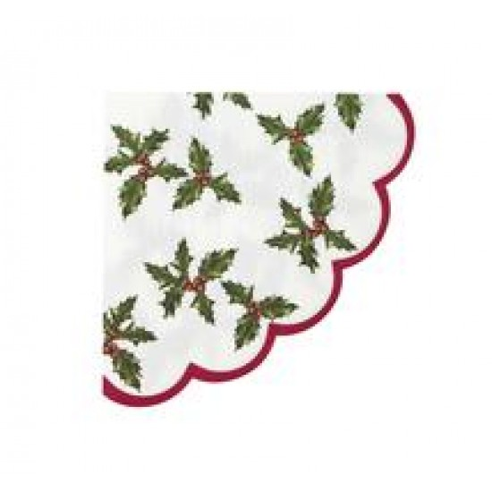 Botanical Holly Scalloped Edge Napkin