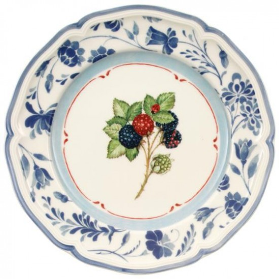 Cottage breakfast plate blackberry blue