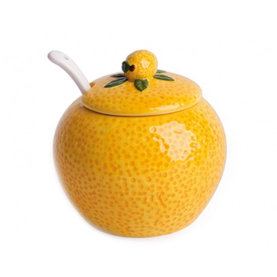 Lemon Sugar Bowl with Lid and Spoon