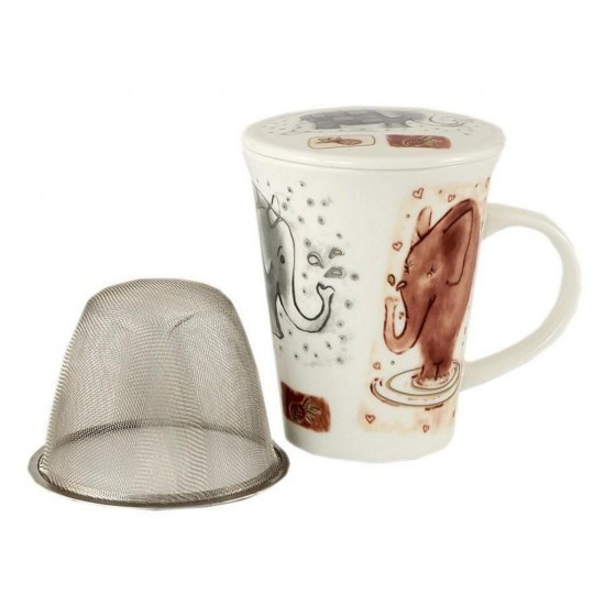 Elephant Tea Cup/Mug with Lid and Strainer