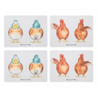 Back to Front Duck & Hen Placemats Set 4 pcs