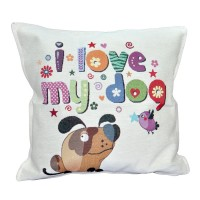 Decorative pillow I love my dog 45 x 45 cm