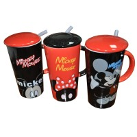 Mickey Mouse Mug with Straw and Lid