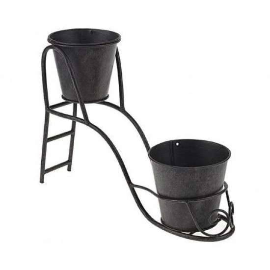 Set of 2 flower pots with Garden Brown holder