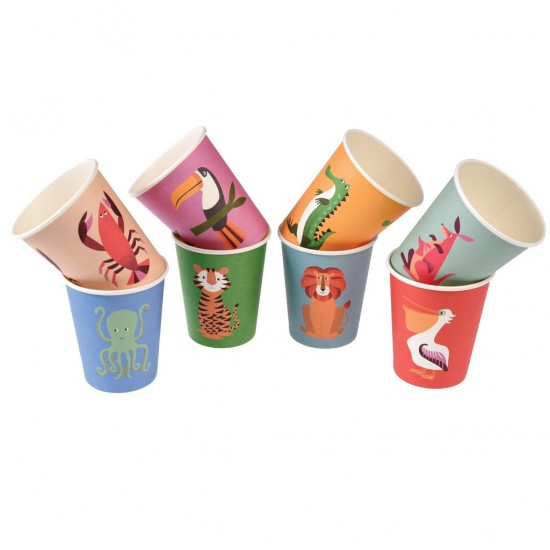 Colourful Creatures Paper Cups Set 8 pcs