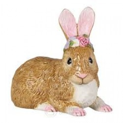 Easter Bunnies Rabbit large lying with wreath of flowers