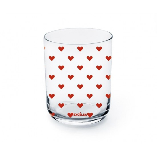 Red Hearts Water Tumblers Set 2 pcs