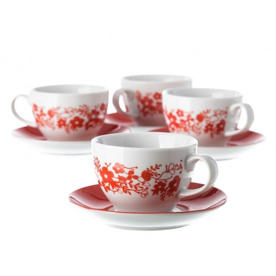Flora Red Tea/Coffee Set 12 pcs