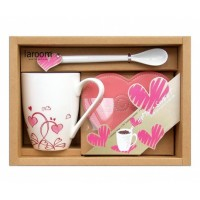 Flowers & Hearts Cup, Spoon & Pad Set
