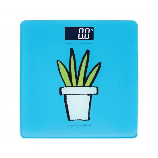 Plant on Blue Digital Scales