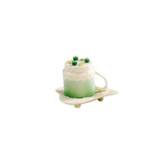 Cherry Blossom Espresso Cup with Saucer Green