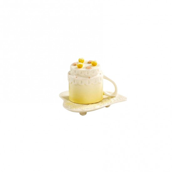 Cherry Blossom Espresso Cup with Saucer Yellow