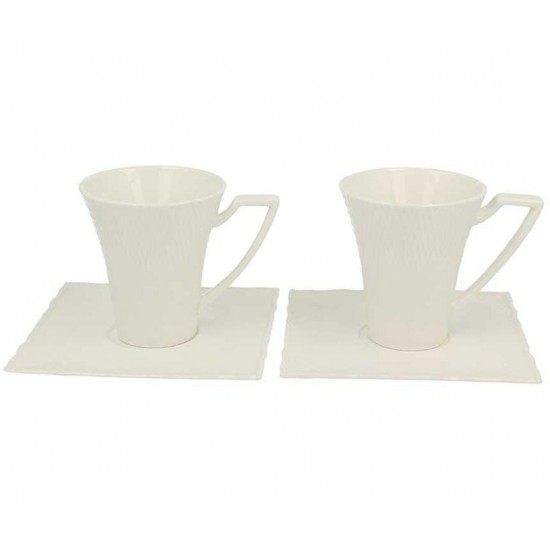 Design Square Cups & Saucers Set 4 pcs
