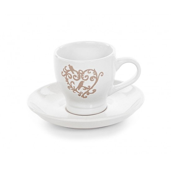 Romantic Heart Cups & Saucers Set 4pcs