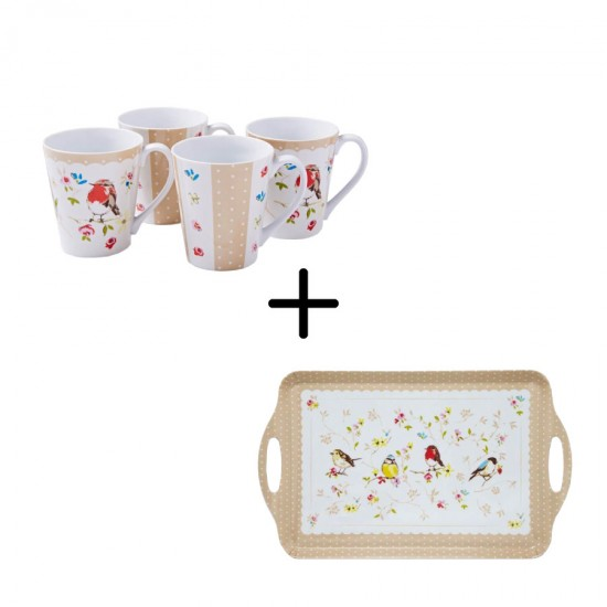Birds World Mugs Set + Serving Tray 5 pcs