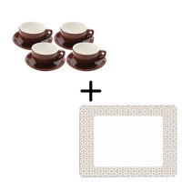 Culture Chocolate Capuccino Set + Casablanca Taupe Placemat Set 12 pcs