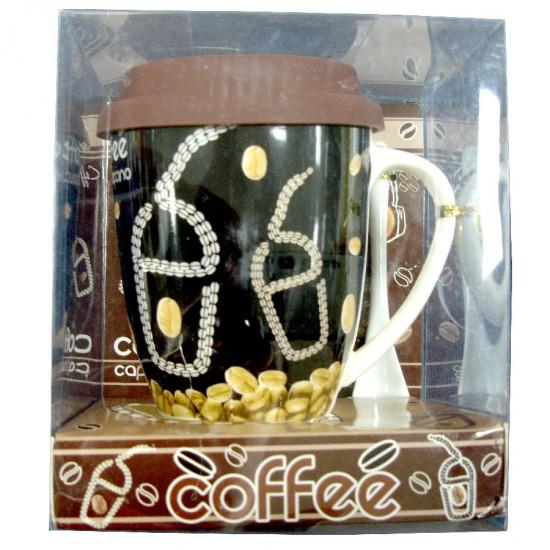 Coffee Cup, Lid & Spoon Set