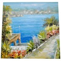 Oil Painting Quay View 60x60 cm