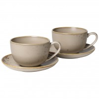 VIVO Stone Ware Brown  large coffee cup set, brown, 4 pieces