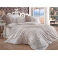 Irene Beige - Poplin Double Bed Linen Set