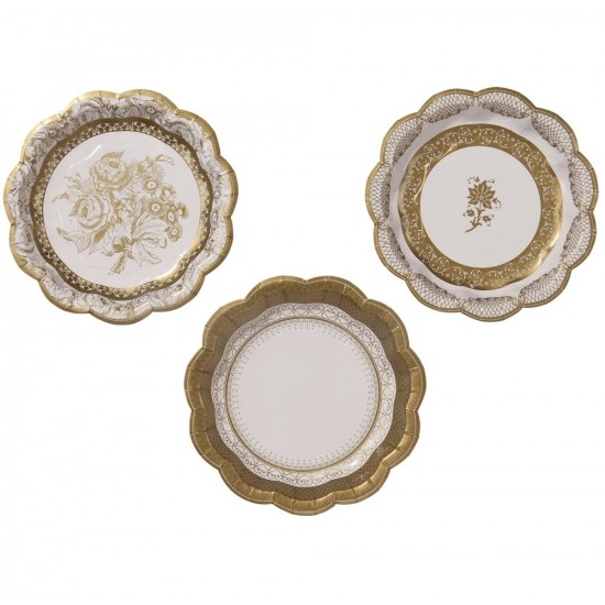 Party Porcelain Gold Plates Small, 12 pc