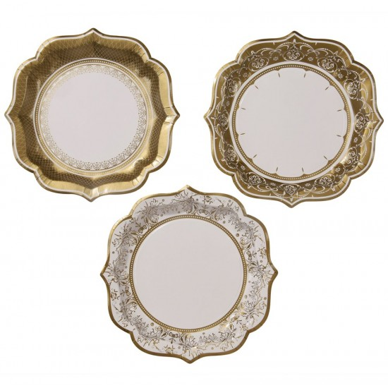 Party Porcelain Gold Plates Medium, 12 pc