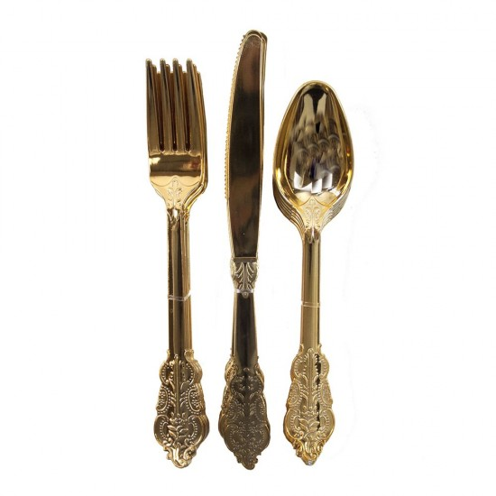 Party Porcelain Gold Cutlery