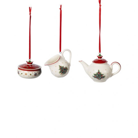 Toy's Delight Decoration ornaments coffee set, white/red, 3 pieces