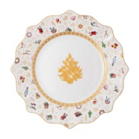 Toy's Delight breakfast plate, anniversary edition, colored / gold / white