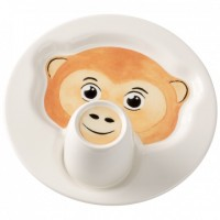 Animal Friends Plate with Cup, Monkey