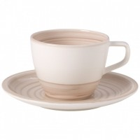 Artesano Nature Beige Coffee Cup with Saucer