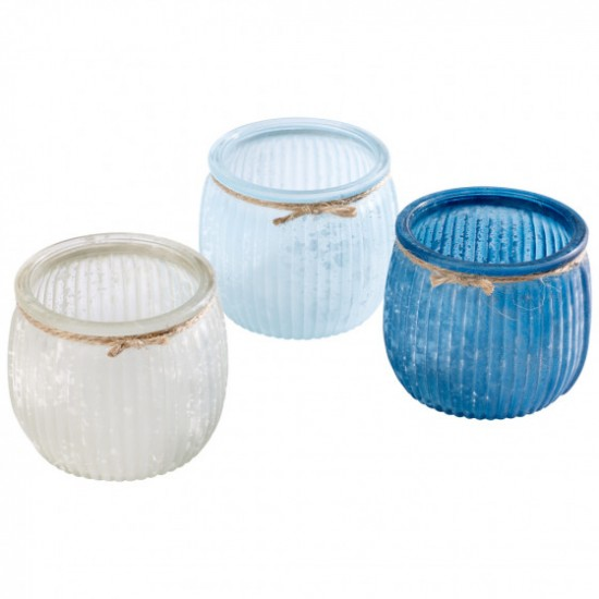 Modern Seaside Set of 3 tea light glass 7,5x7,5x6,5cm