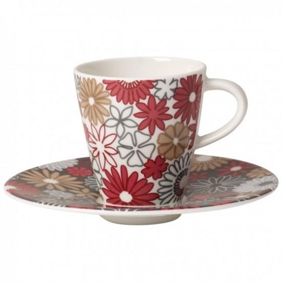 Caffe Club Fiori Espresso Cup and Saucer Set 2pcs