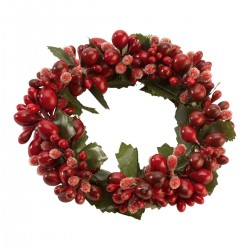 Winter Collage Accessoires Candle ring red berries